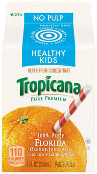 PURE PREMIUM Healthy Kids No Pulp Orange Juice 8 OZ CARTON