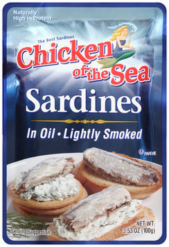Chicken of the Sea® Lightly Smoked Sardines in Oil 3.53 oz. Pouch