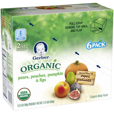 Gerber® Organic 2nd Foods® Pears, Peaches, Pumpkin & Figs Baby Food 6-3.5 oz. Pouches