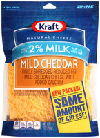 Kraft Finely Shredded Mild Cheddar Cheese Made with 2% Milk 7 oz. ZIP-PAK®
