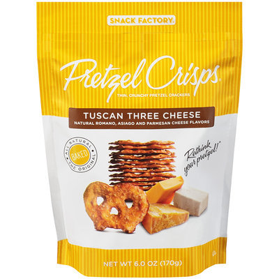 Pretzel Crisps® Tuscan Three Cheese Pretzel Crackers 6.0 oz. Bag