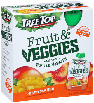 Tree Top® Fruit & Veggies Peach Mango Blended Fruit Snack 4-3.2 oz. Pouches