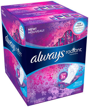 Radiant Always Radiant Pantiliners Regular Wrapped unscented 96ct