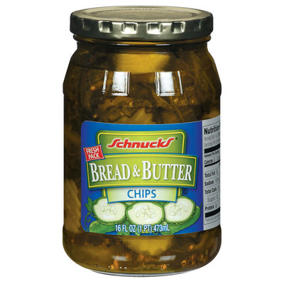 Schnucks Bread & Butter Chips Pickles 16 Fl Oz Jar