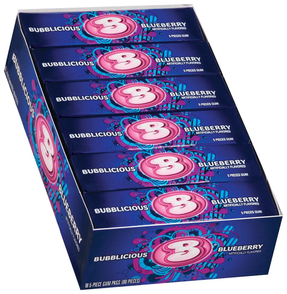 Bubblicious 5 Piece Packs Blueberry Bubble Gum 18 Pk Box