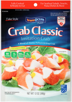 TransOcean® Products Crab Classic Flake Style Imitation Crab 12 oz. Bag