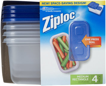 Ziploc® One Press Seal Medium Rectangle Containers 4 ct Sleeve