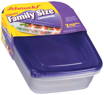 Schnucks Reusable Family Size W/Lids 128 Oz Containers 2 Ct Plastic Container