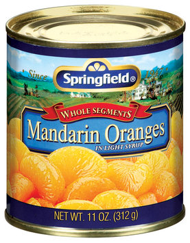 Springfield Whole Segments In Light Syrip Mandarin Oranges 11 Oz Can