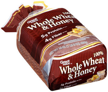Great Value™ 100% Whole Wheat & Honey Bread 24 oz. Loaf