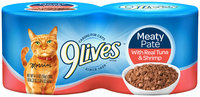 9Lives Meaty Pate with Real Tuna & Shrimp Wet Cat Food, 4/5.5-Ounce Cans (Pack of 6)