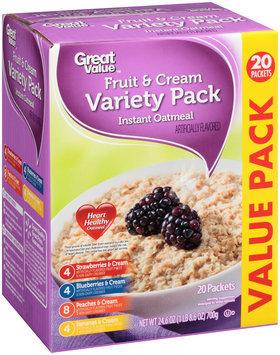 Great Value™ Strawberries & Cream, Blueberries & Cream, Peaches & Cream, Bananas & Cream Variety Pack Instant Oatmeal 24.6 oz Box