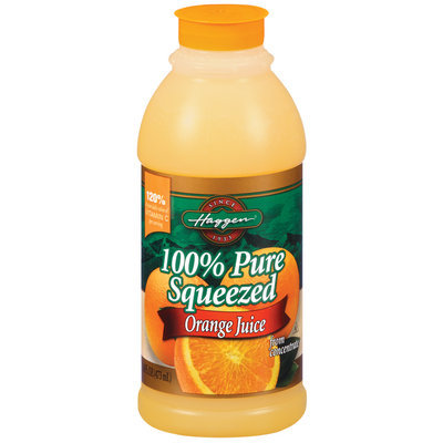 Haggen Orange Pure Squeezed from Concentrate 100% Juice 16 Oz Plastic Bottle
