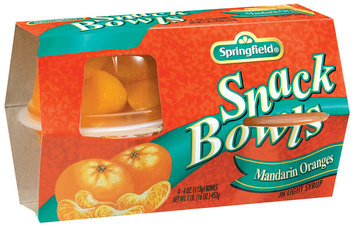 Springfield Mandarin Oranges In Light Syrup 4 Oz Fruit Singles 4 Pk Cups