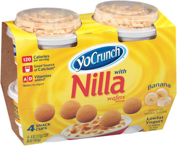 YoCrunch® Banana Lowfat Yogurt with Nilla Wafers Pieces 4-4 oz. Cups