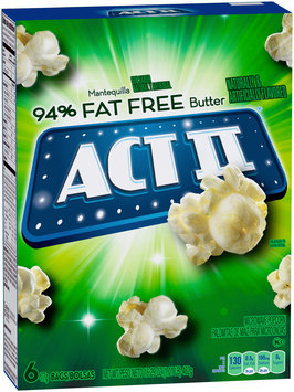 Act II® 94% Fat Free Butter Microwave Popcorn 6-77g Bags