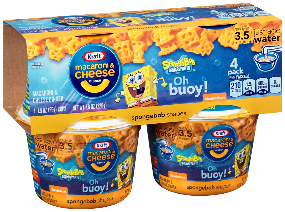 Kraft SpongeBob Shapes Macaroni & Cheese Dinner 4-1.9 oz. Microcups