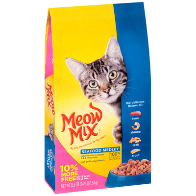Meow Mix Seafood Medley Dry Cat Food, 3.47-Pound