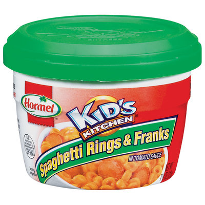 HORMEL KID'S KITCHEN In Tomato Sauce Microwave Cup Spaghetti Rings & Franks 7.5 OZ CUP