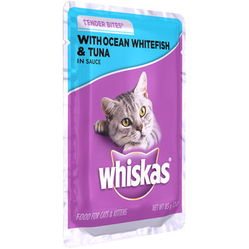 Whiskas® Tender Bites® with Ocean Whitefish & Tuna in Sauce Wet Cat Food 3 oz. Pouch
