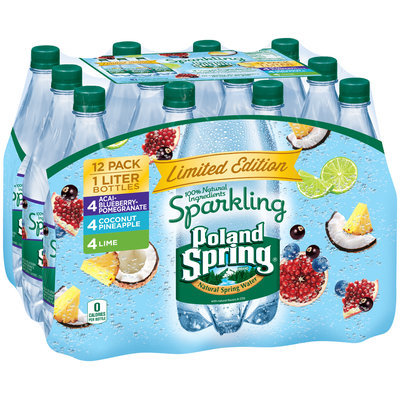 Arrowhead® Sparkling Acai-Blueberry Pomegranate/Coconut Pineapple/Lime Natural Spring Water Variety Pack 12-1L Plastic Bottles