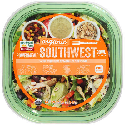 Earthbound Farm® Powermeal™ Organic Southwest Bowl with Avocado Tomatillo Dressing 4.93 oz. Container
