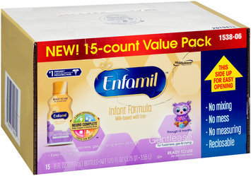 Enfamil™ Gentlease® for Fussiness, Gas & Crying Milk-Based with Iron Through 12 Months Infant Formula 15-8 fl. oz. Bottles