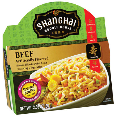 Shanghai Noodle House Beef Steamed Noodles 2.36 Oz Microwave Bowl