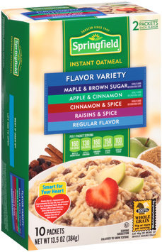 Springfield Flavor Variety Maple & Brown Sugar/Apple & Cinnamon/Cinnamon & Spice/Raisins & Spice/Regular Flavor Instant Oatmeal 13.5 oz. Box