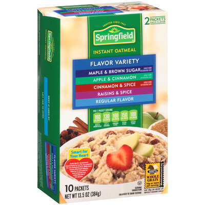 Springfield Flavor Variety Maple & Brown Sugar/Apple & Cinnamon/Cinnamon & Spice/Raisins & Spice/Regular Flavor Instant Oatmeal 13.5 oz. Box