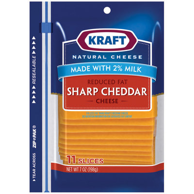 Kraft Reduced Fat Made With 2% Milk Sharp Cheddar Cheese Slices 11 Ct