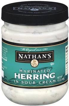Nathan's Marinated In Sour Cream Herring 12 Oz Jar