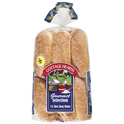 Cottage Hearth Hot Dog Gourmet Selection 12 Ct Buns 32 Oz Bag
