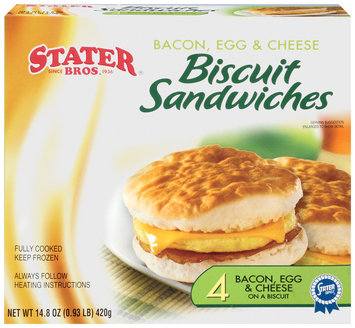 Stater bros Bacon Egg & Cheese 4 Ct Biscuit Sandwiches