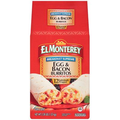 El Monterey® Breakfast Supreme Egg & Bacon Burrito 3.38 lb. Bag