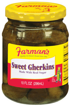 Farman's Sweet Gherkins Pickles 10 Oz Jar