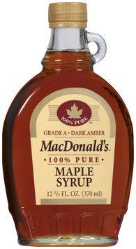 Macdonald's Maple 100% Pure Syrup 12.5 Oz Glass Bottle