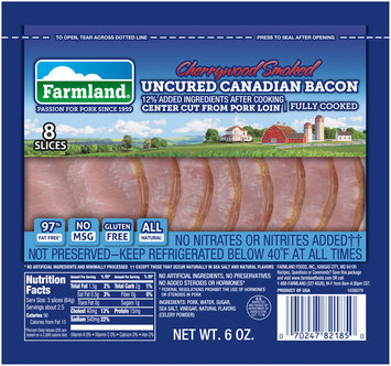 Farmland® Cherrywood Smoked Uncured Canadian Bacon 6 oz. Pack
