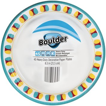 Boulder® 8.5 in. Heavy Duty Decorative Paper Plates 45 ct Pack
