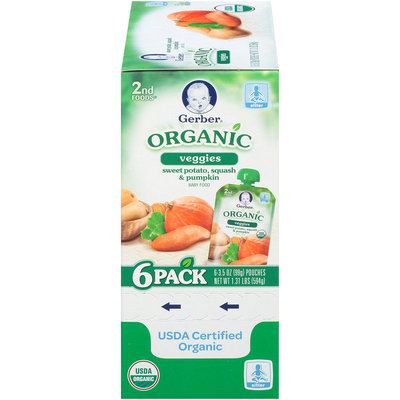 Gerber® 2nd Foods® Organic Sweet Potato Squash & Pumpkin Baby Food 6-3.5 oz. Pouches