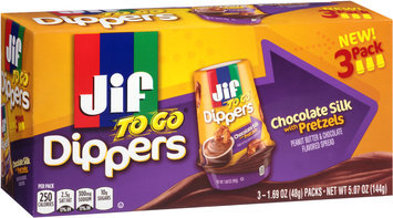 Jif To Go® Chocolate Silk Peanut Butter with Pretzels Dippers 3-1.69 oz. Packs
