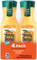Simply Orange® Pulp Free Orange Juice 4-11.5 fl. oz. Plastic Bottles