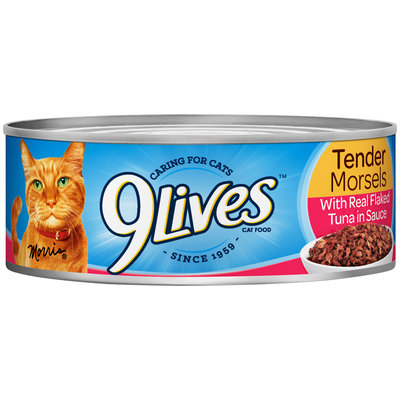9Lives Tender Morsels with Real Flaked Tuna in Sauce Wet Cat Food, 5.5-Ounce Can (Pack of 24)