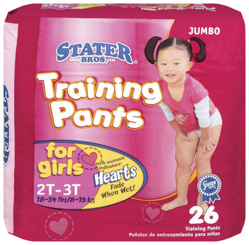 Stater Bros. Girls 2t to 3t 18-34 Lbs Jumbo Pack Training Pants 26 Ct Bag