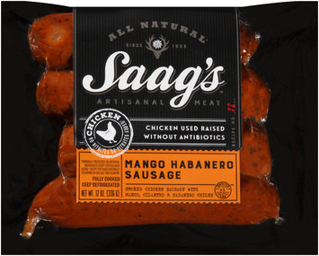 Saag's™  All Natural Chicken Mango Habanero Sausage 12 oz. Package