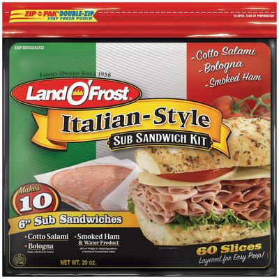 Land O' Frost Sub Sandwich Kit Cotto Salami, Bologna, & Smoked Ham  Italian-Style 24 Oz Zip Pak