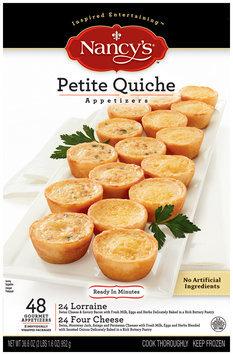 Nancy's Petite Quiche Four Cheese & Lorraine 48 Ct Appetizers 36.6 Oz Box
