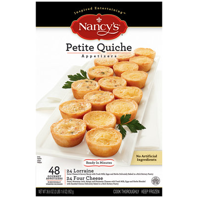 Nancy's Petite Quiche Four Cheese & Lorraine 48 Ct Appetizers 36.6 Oz Box