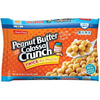 Malt-O-Meal® Peanut Butter Colossal Crunch® Sweetened Cora Puff Cereal 25 oz. Box