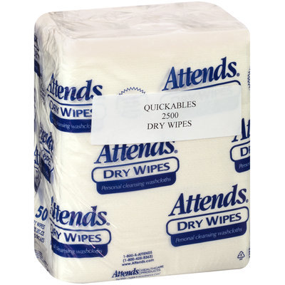 2500 Attends® Dry Wipes Medium-Weight 10 in. x 13 in., 50 count